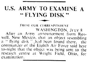 US Army To Examine A Flying Disk