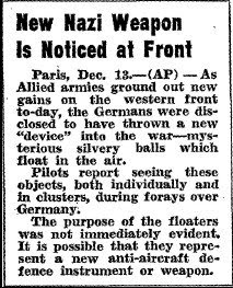 New Nazi Weapon is Noticed at Front - Hamilton Spectator 12-13-1944