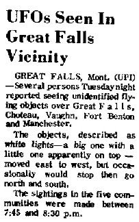 UFOs Seen in Great Falls Vicinity - The Daily Inter Lake 3-22-1967