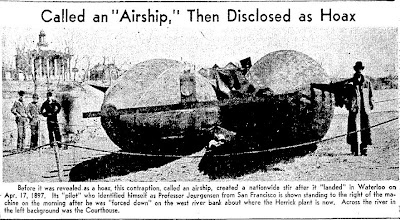 Airship Hoax Reaps Fame For City (Photo) - Waterloo Daily Courier 6-2-1954