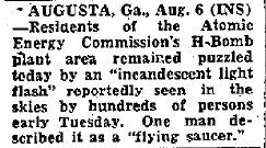 Flying Saucer Spotted Near H-Bomb Plant - Albuquerque Tribune 8-6-1952