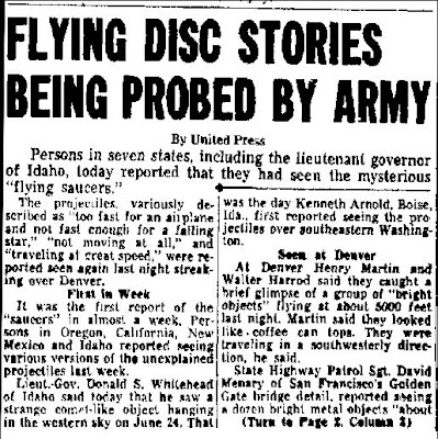 Flying Disc Stories Being Probed By Army - San Mateo Times 7-3-1947