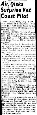 Air Disks Surprise Vet Coast Pilot - Indiana Evening Gazette 7-2-1947