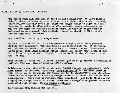 UFO Report at  Missile Site, Altus AFB Oklahoma (2) 5-21-1964