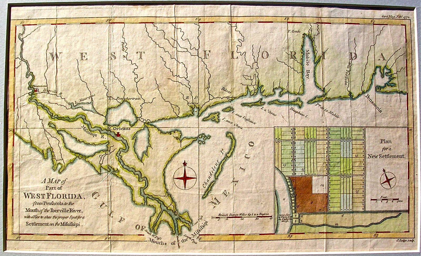 West Florida Map.Lighthouse Books Abaa 1772 Hand Colored Map Of West Florida