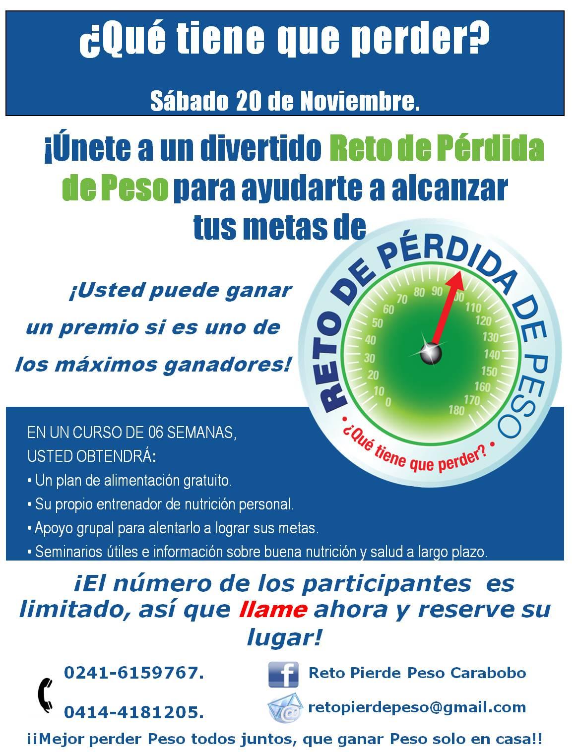 Reto Pierde Peso Carabobo: Reserve su Lugar YA!..