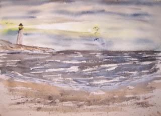 Watercolor Paintings - Art by Derek McCrea: Light at Night 3