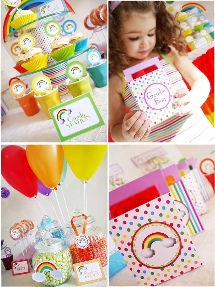 Rainbow Birthday Party with Printables DIY decorations - BirdsParty.com