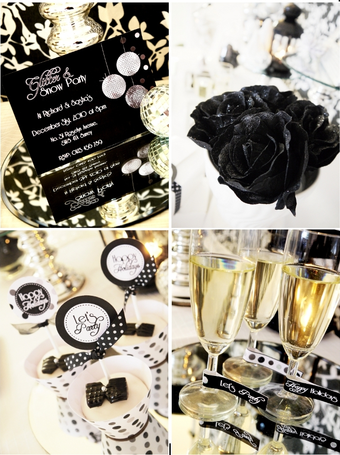 A glitter and snow new year 39 s eve party party ideas - Black silver and white party decorations ...