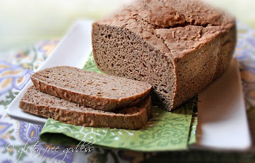 Gluten free rye bread aka ryeless rye is baked with gluten free flours