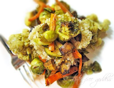 Roasted Brussells sprouts plate with brown rice and butter beans is a healthy vegan gluten free meal