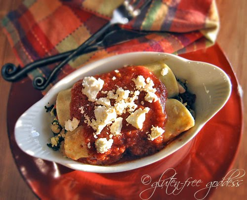 Vegetarian enchiladas Griegos with spinach and feta