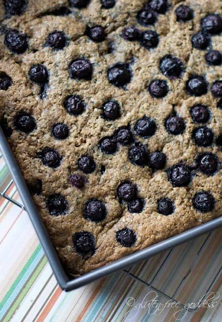 Gluten free quinoa breakfast bars with blueberries