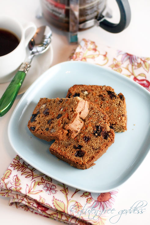 Warm slices of gluten free carrot raisin bread with freshly brewed soy coffee made from roasted soy beans