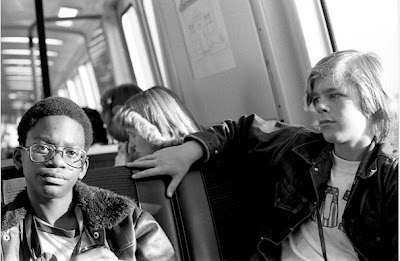 Zennie and Lars on BART from Oakland to Berkeley: 1975