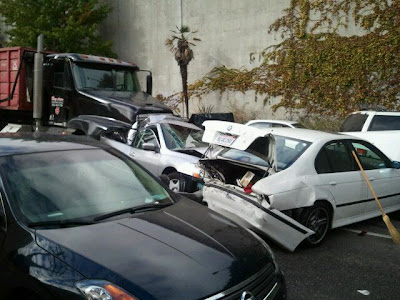 Truck Loses Breaks, Car Accident In Oakland, California