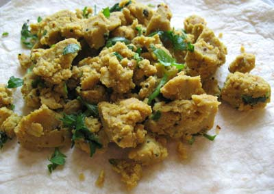 Scrambled Chickpea Flour with a Fiery Red Chili Paste