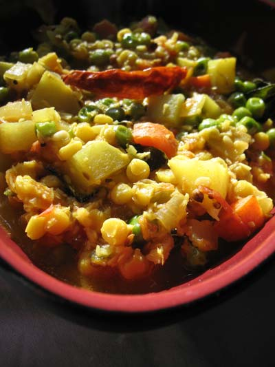Spicy Vegetable Korma with Chana Dal in a Cashew Coconut Tomato Sauce