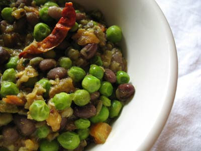 Mung and Azuki Beans with Fresh Peas and Spices