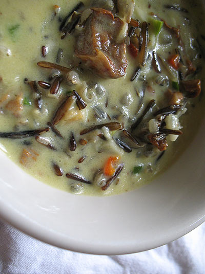 Wild Rice Chowder with Fresh Coconut and Mushrooms