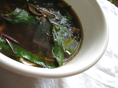 Miso Seaweed Broth with Mushrooms and Carrots
