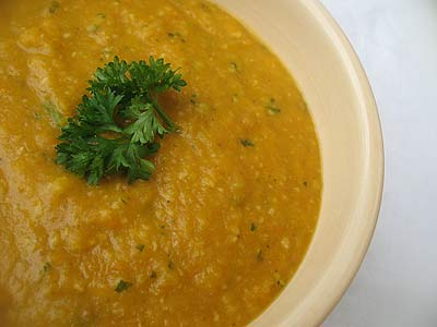 Curried Carrot and Lentil Soup with Cashews