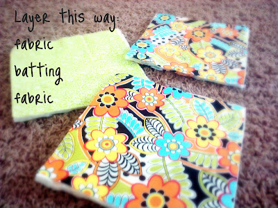 Three squares of batting between fabric with instructions on how to layer it.