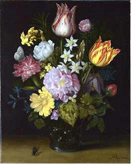 old master painting of tulips