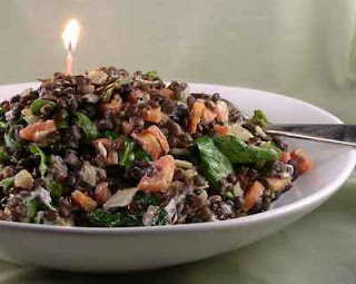 Warm Lentil Salad with Spinach & Goat Cheese ♥ AVeggieVenture.com