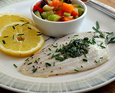 Fish with Herb Butter @ KitchenParade.com, simple broiled fish, topped with a little butter and fresh herbs. quick enough for a weeknight, special enough for company. Low-cal, low-carb, high-protein & Weight Watchers PointsPlus 5.