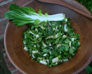 Here's the bok choy (also called pac choi) used in the salad, it has a slight bite, like arugula with crunch