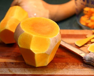 Turn it over and repeat (How to Safely Cut a Butternut Squash into Pretty Little Cubes, Step by Step ♥ AVeggieVenture.com)