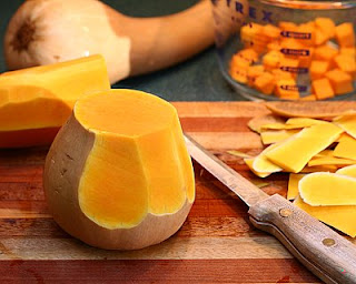 Slice the peel off the bulb (How to Safely Cut a Butternut Squash into Pretty Little Cubes, Step by Step ♥ AVeggieVenture.com)