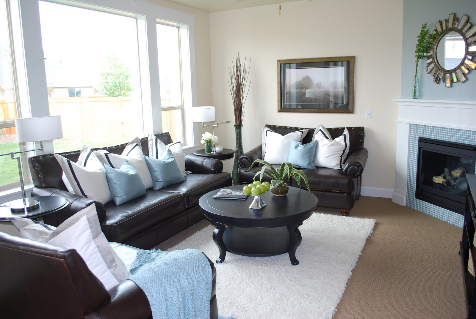 Dark Brown Sofa With Blue Pillows Custom San Diego Interiors Redefined Recycled
