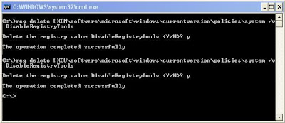 Remove Brontok Virus Manually from Windows Using Command Prompt Command Reg Delete to Delete the Registry Value DisableRegistryTools
