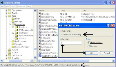 Disable Source Routing edit registry DWORD Value