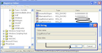 disable legalNotice during system startup in Window Registry