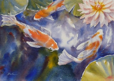 Koi in a Waterlily Pond