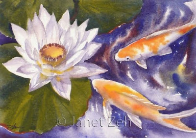 Koi fish and waterlily painting