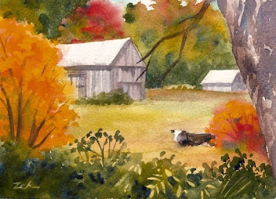 New England Barn in an autumn landscape