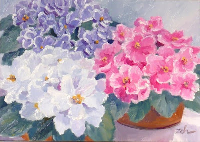 African Violets oil painting