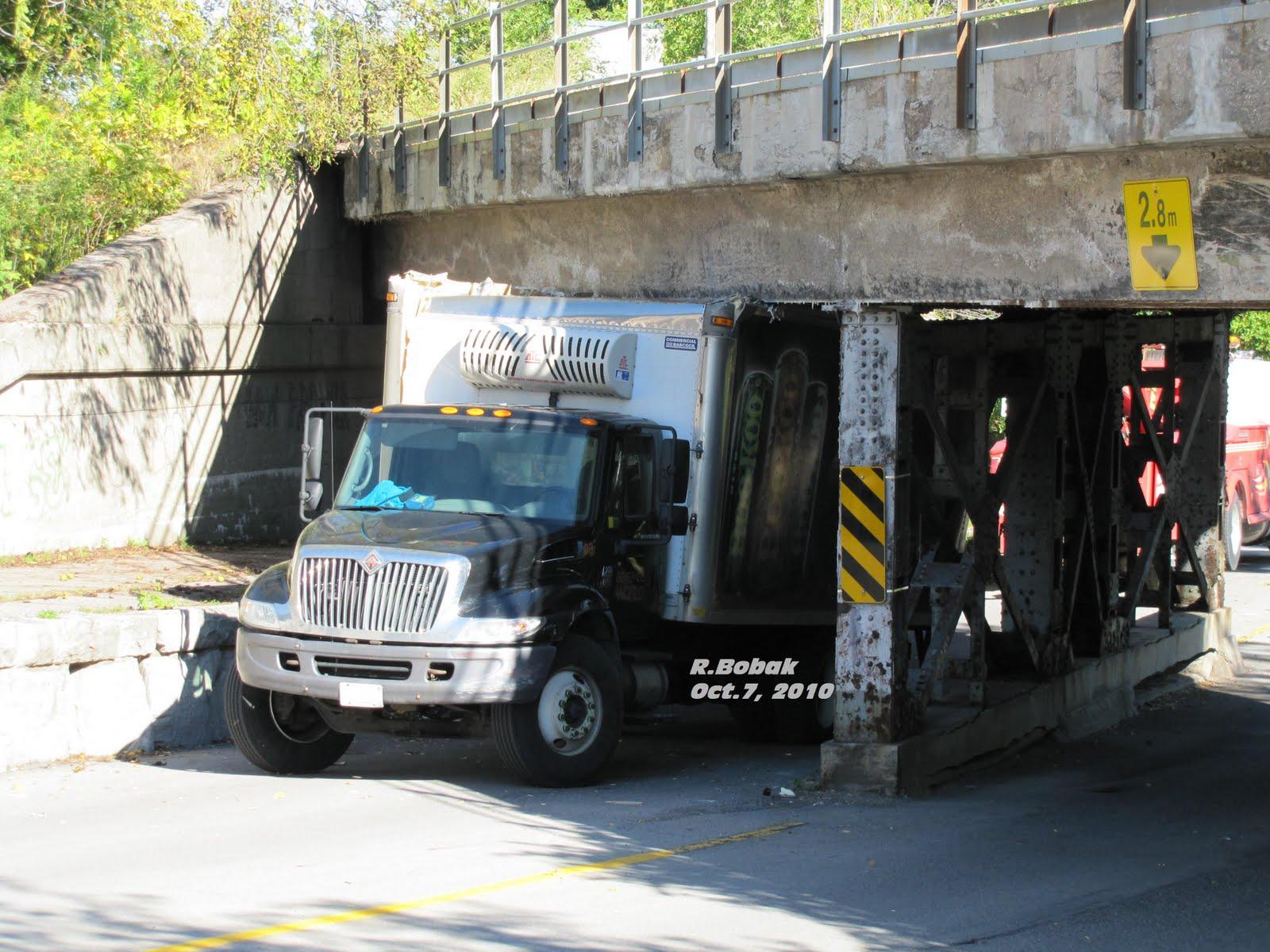 Right In Niagara Truck Stuck Under Bridge