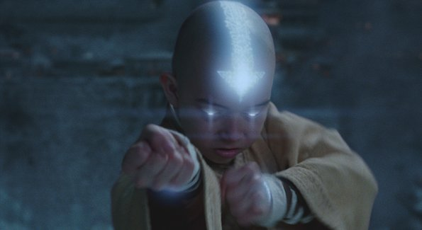 "Noah Ringer plays Aang in the movie ""The Last Airbender"""