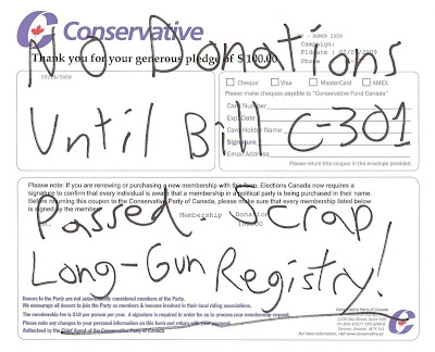 Conservative Motivation (Fear?) on trying to kill gun registry.