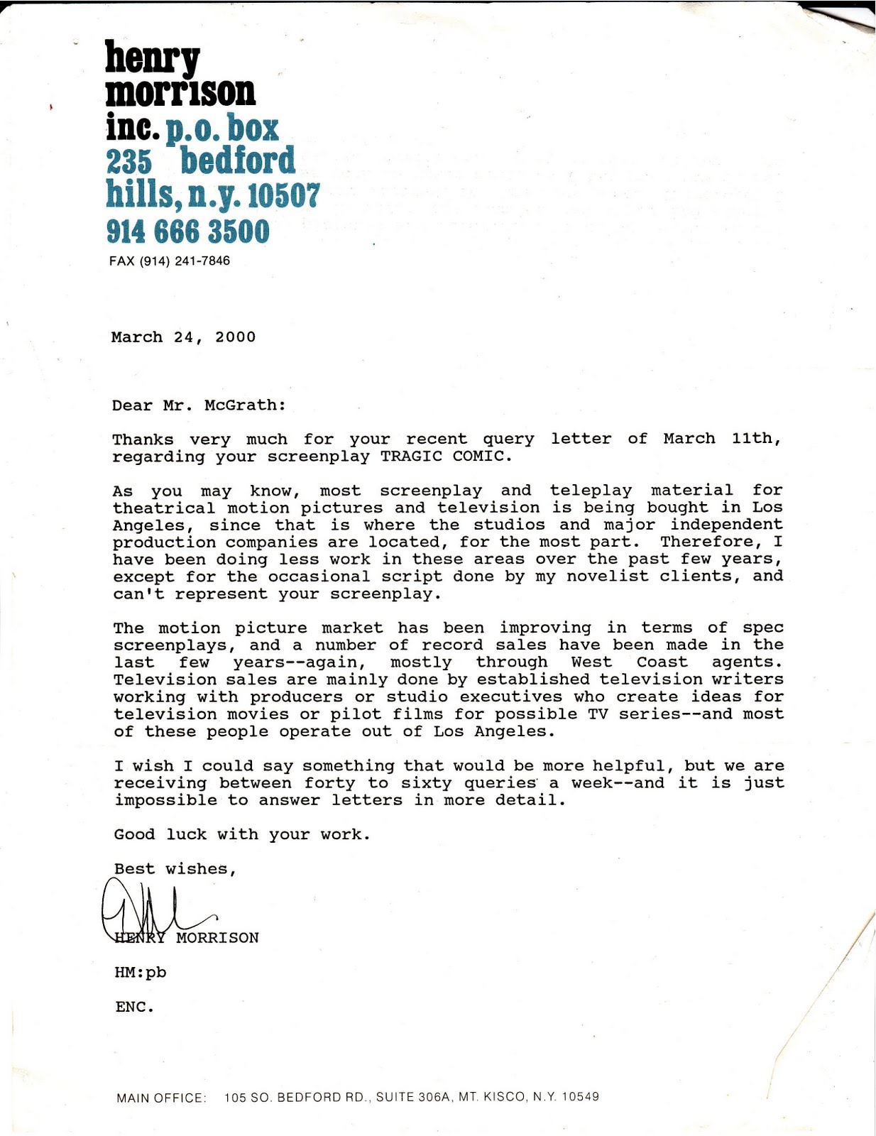 How to address a literary agent in query letter howsto my life scanned rejection letter from henry morrison literary spiritdancerdesigns Images