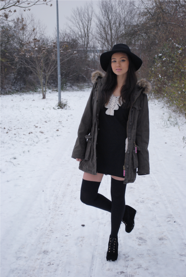 c&a parka, Parka, Parka jacket, Lace Dress, Arafeel, over the knee socks, overknee socks, wedges
