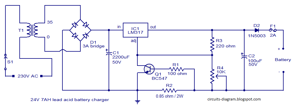 Circuits Diagram  24v Lead Acid Battery Charging Circuit