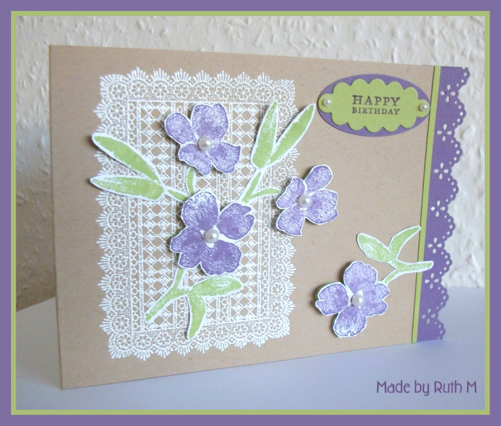 Flower sparkle flowers doily happy birthday card as per usual i stamped the inside of the card as well the doily looks great stamped in colour too i stamped the doily in pear pizzazz ink cut it out and izmirmasajfo