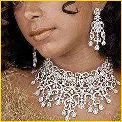 Designer Diamond Necklace Set Paired With Diamond Heavy Earrings