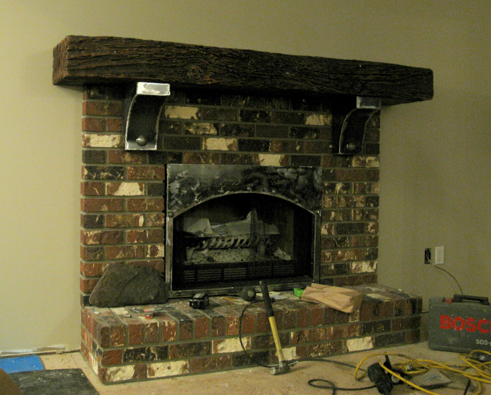 Creating an old world cultured stone fireplace, without ...